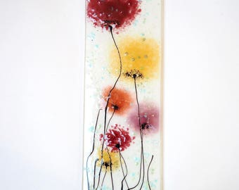 Pink and Gold Flowers Fused Glass Wall Art - Poppy Art - Flower Art - Handmade Glass Gift - Pink Poppy Art - Glass Poppy Wall Art - EH 687