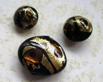 Venetian glass beads black gold disc lentil set of five