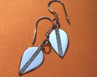 Lotus Petal Sterling Silver Drop Earrings- Minimalist- Yoga Earrings- Yoga Jewelry