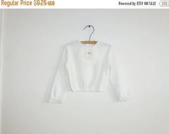 SALE // Vintage White Girl's Crop Top