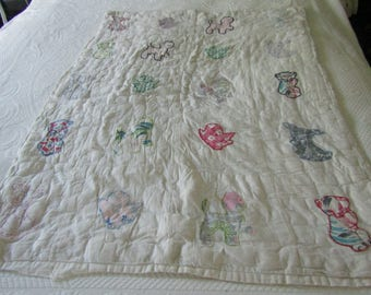 Vintage Crib Quilt Bunnies Chicks and Kittens Appliqued Not Perfect