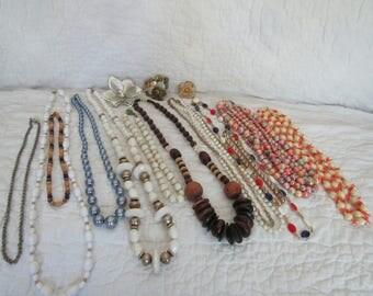 16 piece Vintage Costume Jewelry Lot 1 Lb 3 pcs need tlc