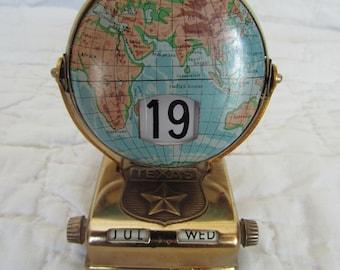 Vintage Perpetual Calendar great desk office piece Texas Star under round globe