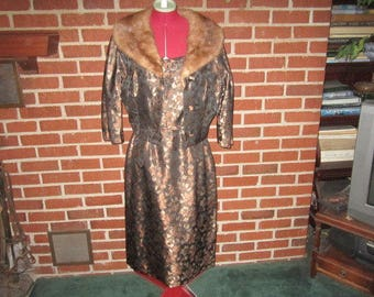 Vintage 1950s/50s Exquisite Chocolate Brown Satin Dress and Jacket with Mink Collar in Pristine Condition