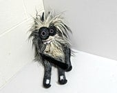 Stuffed Monster - Monster Plush - Handmade Plush Monster - Hand Embroidered OOAK Monster Toy - Curly Gray and Cream Faux Fur - Cute Monster