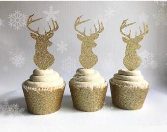Reindeer Cupcake Toppers| Reindeer Party| Christmas Toppers| Baby Shower Toppers| Babsy Shower Decor| Christmas Decor| Christmas Party