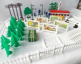 Vintage of Plasticville BB Miniature Toy Railroad Dollhouse Village Accessories Diner Bus Paper Billboards+
