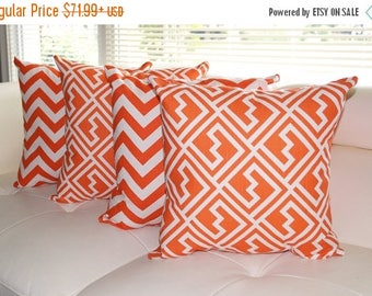 Premier Prints  - Zig Zag Tangelo Orange and Shakes Tangelo Orange Decorative Throw Pillow - 4 Pack Free Shipping