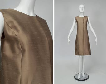vintage 1960s minimalist iced brown A-line Jackie shift dress, asymmetrical front closure, luxe silk dupioni, stunning simplicity, size L