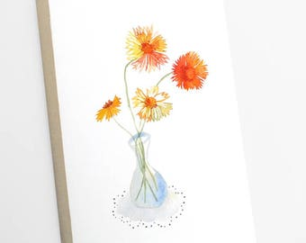 Flower journal, Illustrated flower in a vase notebook, Flower jotter, Flower notebook, Flower stationery, Small gift, Gift stationery