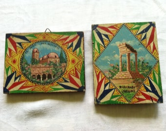 Vintage Handpainted European Souvenir Tiles  from Barneche/Stephanie Barnes Studio