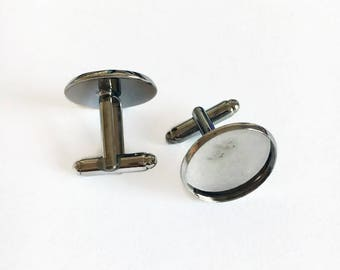 Gunmetal cufflinks 20mm round fit 18mm cabachons - glass domes - 20pcs