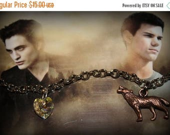 Summer SALE Twilight Saga Inspired Bella Edward Jacob Themed Charm Bracelet