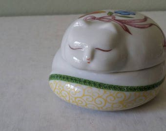 Cat Jewelry Dish, Ceramic Cat Trinket Dish