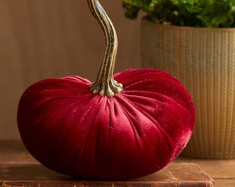 Scented Velvet Pumpkin, Rich Dark Red