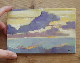 sky with clouds at the sunset small oil painting 4 X 6 yellow grey violette tone