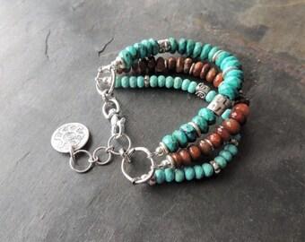 30% OFF CIJ Artisan Jewelry, Multi Strand Turquoise Bracelet, Artisan Silver Beads, Silver Bracelet, Stacking Bracelet, Rustic, Southwestern