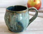 Textured Green Stoneware Mug Ceramic Pottery Coffee Cup 16 oz. Handcrafted Ready to Ship Made in USA