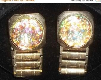 SUMMER SALE Vintage Sparkle Confetti Link Wrap Around Cuff Links Cufflinks Gold Tone