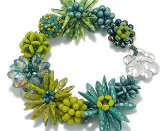 Green and Teal Flower Bracelet, Flower Bracelet, Tropical Bracelet, Handmade Gift, Statement Bracelet, Bold Bracelet, Art Jewelry