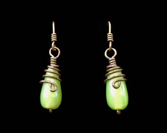Copper Wire Wrapped Teardrop Earrings  with  Pale Green Teardrop Glass Bead