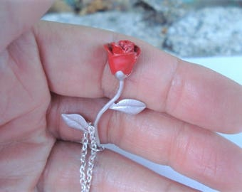 Red Rose Pendant Rose Charm Necklace Gift for Girlfriend Rose Bud Necklace Red Rose Red Long Stemmed Rose Necklace Red Rose Jewelry