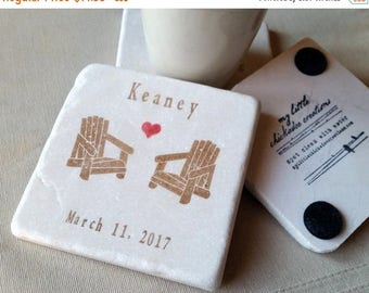 XMASINJULYSale Personalized Tile Coasters - Adirondack Chair Design - Custom Wedding Gift - Rustic Cabin Home Decor