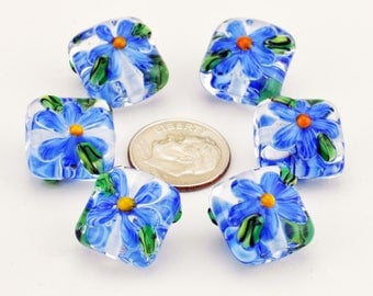 Handmade Lampwork Nugget Bead Set Clear with Blue Daisy Flowers SRA by HallockGlass