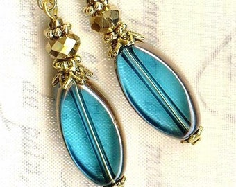 "Earrings ♥ ELLIPSES ""window"" blue TURQUOISE bronze ♥ OR674"