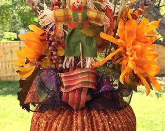 SALE & FREE SHIPPING Pumpkin Scarecrows Fall Floral - Fall Halloween Centerpiece