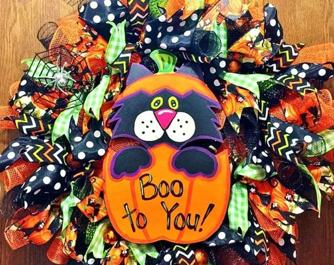 SALE- Black Cat in a Pumpkin Halloween - Welcome Door Wreath