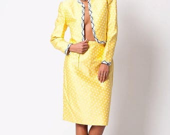 40% OFF CLEARANCE SALE The Vintage Carolina Herrera Yellow Polka Dot Two Piece Suit Set