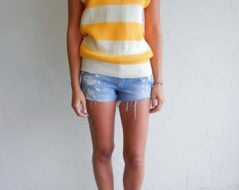 40% OFF Vintage Yellow & Beige Striped Knit Top