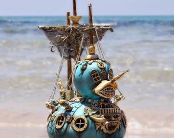Large Scale Steam Punk Gothic Pirate Duck Ship Pop Surealistic Sculpture.