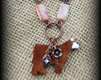 """Kiln Fired Red Baldy Pottery Pendant, Cattle Jewelry, Show Steer, Show Heifer, Livestock Bead/Chain  Necklace, Approx 27"""" (end to end)"""