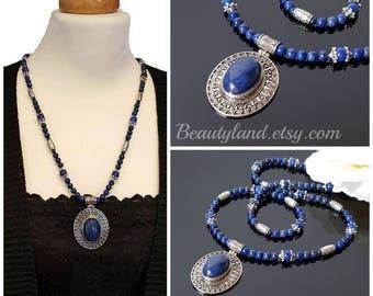 Lapis Lazuli Necklace Boho Blue Pendant Necklace for Women Blue Gemstone Boho Statement Necklace Mom Gift Idea Christmas Clothing Gift Wife