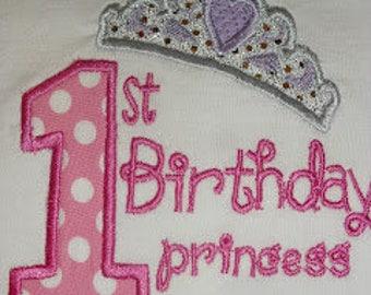 1st Birthday Princess Applique Birthday onesie or shirt