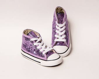 Sequin - Toddler - Converse Lavender Purple Canvas Hi Top Sneakers Shoes