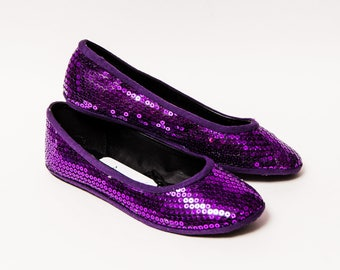 Ready 2 Ship - Size 9 Sequin Custom Purple Sequin Ballet Flats Slippers Shoes