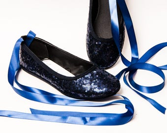 Sequin - Navy Blue Ballet Flats Slippers Shoes With Matching Lace Up Ribbons