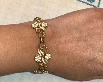 Vintage Coro enamel and rhinestone goldtone bracelet