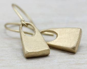 Small Padlock Dangle Earrings - Recycled 14k Yellow Gold - Unique & Modern Hanging Earrings,  Made to Order Fine Jewelry - Simple