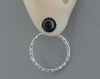 Black onyx stud earrings ear jacket earrings double sided front back earrings onyx jewelry celestial sterling silver hoop earrings ear wraps