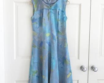 Vintage Dress, Tegaki Hand Paints Label, Hong Kong, AMAZING Watercolor Colors