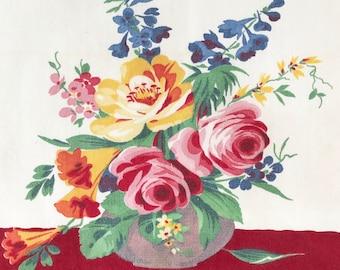 Vintage Dish Towel Wilendur Flower Arrangement Pink Roses Blue Delphinium