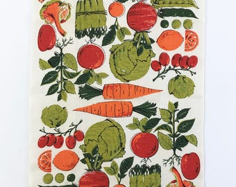 Vintage Tea Towel Vegetables Fruits Veggies Kitchen Wall Decor Gift for Gardener