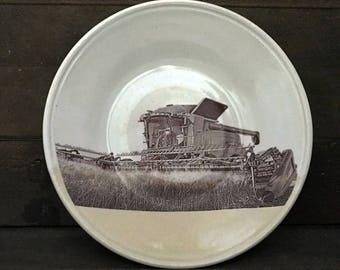 "Prairie Farm Ceramic Plate ""Combine"" - HAND MADE Cream on Vintage White Stoneware"