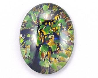 Large Green Harlequin Czech Glass Cabochon 40x30mm - 1