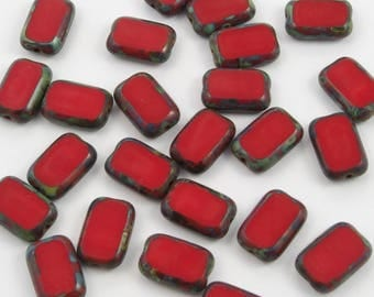 Czech Glass 8x12mm Opaque Red Picasso Rectangle Beads - 12