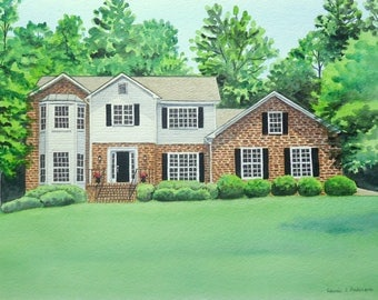 Painting of your Home, House, Cabin, Cottage or Condo Watercolor ORIGINAL ART  16 x 20  including mat
